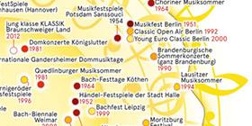 gelbe Landkarte von Deutschland mit Orten, an denen Klassikfestivals im Sommer stattfinden